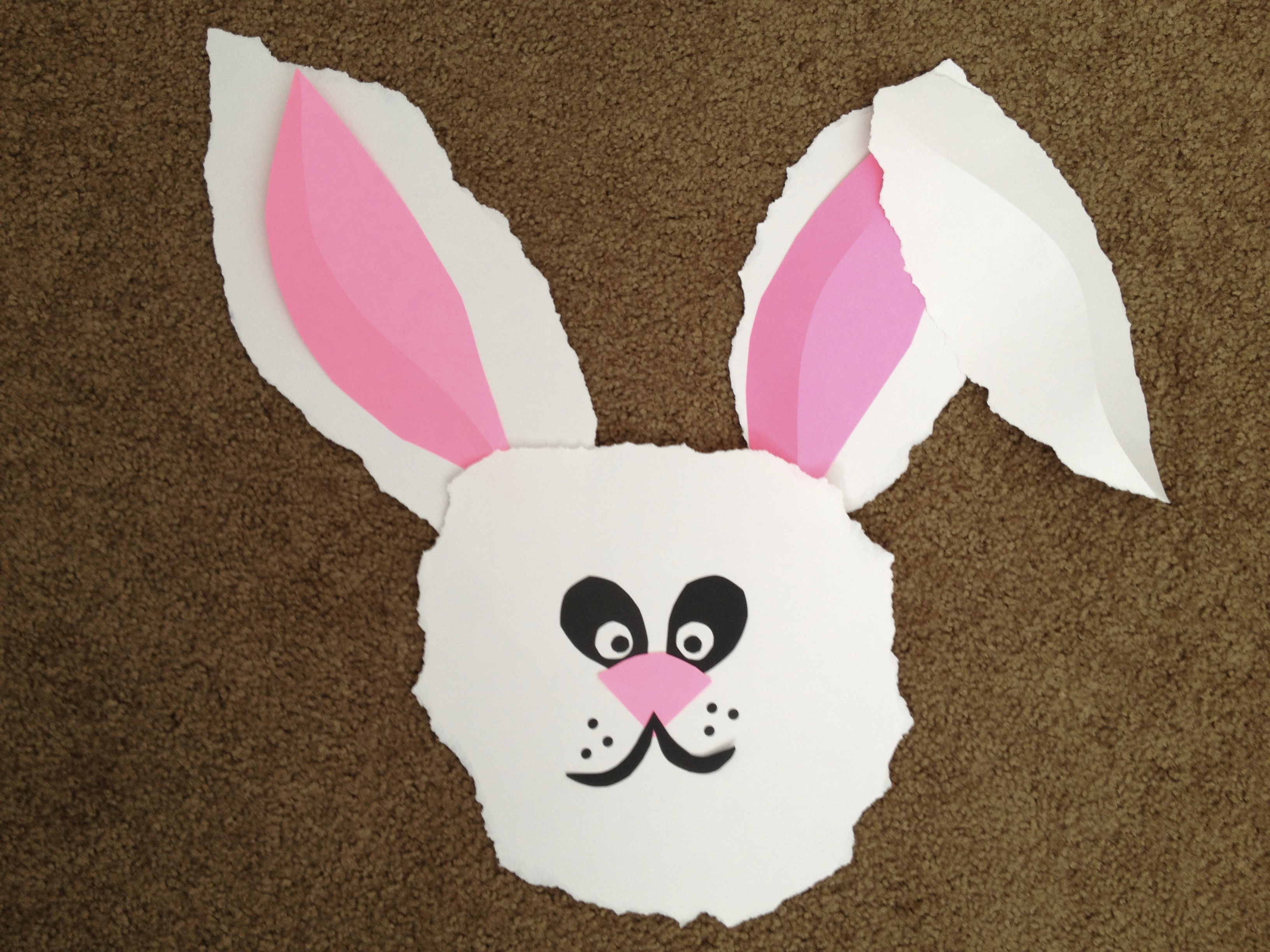 Easter Classroom Decor ~ Spring art lesson idea torn paper bunny for